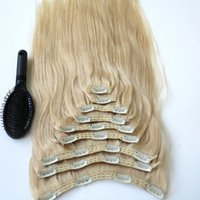 remy clip in - 320g Set Clip in Hair Extensions inch Platinum Blonde Brazilian Indian Remy human Hair free Comb