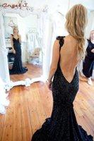 Wholesale 2015 New Arrival Desigual Designer Black V Neck Backless Tank Sequins Fabric Mermaid Long Formal Evening Dresses Angel J p30