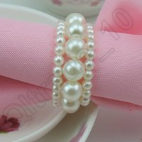 Cheap 100PCS HHA442 Popular Wedding White Shiny Pearls Napkin Rings For Wedding Favor Supplies Party Table Decoration Accessories Top Quality