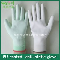 nitrile coated gloves - 13 gauge polyester nitrile coated industrial gloves anti static working glove