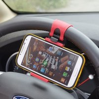 band car accessory - Universal Car Steering Wheel Phone Smart Socket Mount Holder with Rubber Band for iPhone For Samsung Mobile Phone GPS Accessories