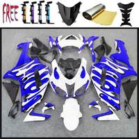 2007 2008 ZX6R Pour Kawasaki ZX-636 en plastique ABS en plastique ABS Fairingss ZX6R 07 08 blanc flamme bleue Bodywork Set plastique ABS carénages Ninja ZX6