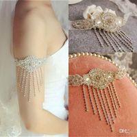 body chain - Body Jewerly Beaded Wedding Accessory Necklace Jewelry Ribbon Chain Shoulder Wedding Bridal Princess Crystal Rhinestone Body Jewerly Beaded