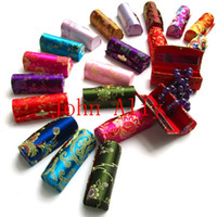 lipstick case - Random Colour Retro Brocade Embroidered Lipstick Empty Cosmetic Case Holder Box with Mirror Wonderful case and Gift for Her