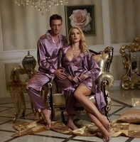Wholesale 2016 New style couple robe sets for men women couple pajama sets imitation silk lace sleepwear