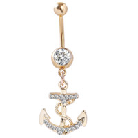 anchor gold ring - 0032 Newest Anchor navel belly ring clear color stone drop shipping body piercing jewelry