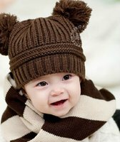 5.3 hand crochet baby beanie hat - Baby Beanie Crocheted Hats Cute Hand Kintted Toddler Kids Children Winter Warm Bonnet Earflap Double Ball Caps Free DHL Factory Price