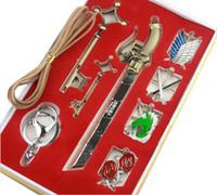 Wholesale Attack on Titan Emblems Keychains Key Necklace and Sword Piece Jewelry Set Shingeki no Kyojin Set