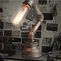 american water works - LOFT American Industry Vintage Personality Creative Wrought Iron Water Pipe Table Lamp Study Room Bedroom Bedside Desk Lamp