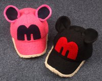 baseball cap ear warmer - 2016 new colors Mickey ears baby hat warm soft cotton cartoon Baseball cap with Letter M Children Hats C141