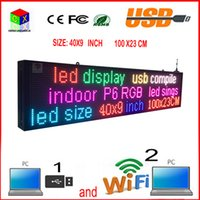 Wholesale 40X9 inch full color RGB LED sign wireless and usb programmable rolling information P6 indoor led display screen