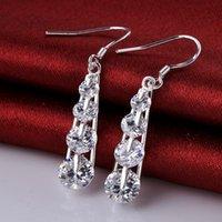 Nouveau arrivent les beaux bijoux noirs de la boucle d'oreille de bijoux de la mode 925 sterling d'argent de Swarovski de mariage de bijoux élégants noirs E574