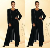balck dress - Newest Balck Beads Mother Of the Bride Groom Dresses With Pants Suits Long Sleeves Jacket Fashion Summer Custom Vintage Evening Formal Gowns