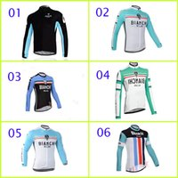 Wholesale Bianchi Cycling Tops Long Sleee Jerseys Collection Autum Outdoor Pro Team Bike Clothing Clothes Anti Wrinkle Bicycle Wear Polyester Riding