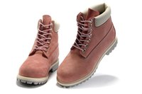 Cheap top layer leather boots 10061 pink Classic boots tb lands women shoes Hiking Boots Genuine Leather Tooling Ankle boots