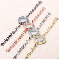 magnetic beads - Stainless steel magnetic living floating locket bracelet silver with crystals Charm Bracelets Round Magnetic Glass Four Colors mm
