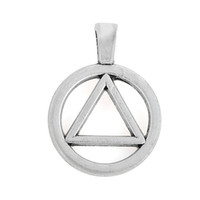 alcoholics anonymous - Alcoholics Anonymous Triangle In Circle Symbol Charm Pendant Accessory Antique Silver Plated For Jewelry Making