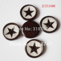 Cheap 12pcs 20*20MM 2-Holes Star Shape Dark Brown Color Wooden Buttons Clothing Accessories 004006017