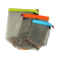 bag on track - New Storage Bags Mesh Bag Ultralight Drawstring Mesh Sack Storage Bag for Tavelling Camping Sports Large Medium Small Size order lt no track