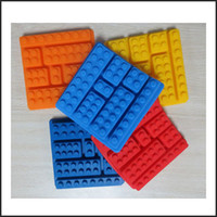 Wholesale Square Lego Shaped Silicon Ice Cube Tray Mould Food Grade Building Block Rubber Chocolate Jelly Maker Mold Brick Block
