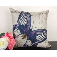 Wholesale Cotton Linen Purple Butterfly Home Decor Throw Pillow Case Cushion Cover Gift