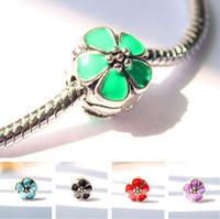Wholesale 5pcs light pink Enamel Clip flower Charm safety Bead Fits European Charm Bracelets Necklaces
