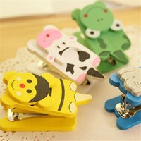 Educational Supplies - 10pcs cm Cartoon mini stapler wooden office binding supplies colors random delivery stationery accessories