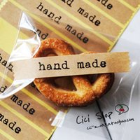 bag hand make - 1800PCS Kraft quot Hand Made quot Printing Sticker Adhesive Paper Label For Bakery Gift Packaging Bag Box Decoration Scrapbooking