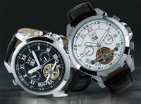 2015 JARAGAR uomini cuoio guardano numero d'oro mens immersione meccanici risalgono automatico orologi da polso di lusso sportive