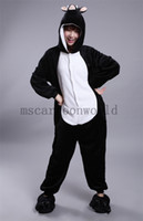 Wholesale 2015 black boar Pajamas Animal suits Cosplay Costume Adult Garment Coral Fleece Stitch Cartoon Animal Sleep