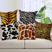 throw pillows square - Newest Animal Texture Throw Pillow Covers Zebra Leopard Deer Cow Striped Decorative Pillow Case x45cm Capa De Almofadas