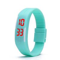 2015 pantalla colorida impermeable suave Led táctil reloj caramelo de la jalea del caucho de silicón digital pulsera Relojes Hombres Mujeres unisex se divierte el reloj