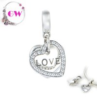 Wholesale silver heart charms pendant sterling silver charms Love Heart Dangle silver charms fit charm bracelets No90 S177