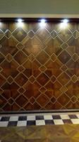 Wholesale Hradwood parquet Custom wood floor Black w Medallion Asian pear Sapele wood floor Private custom wood floor Burmese teak wood floor