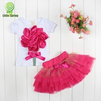 childrens wear - 2015 spring In Stock Girls Summer sets Big flower clothes set T shirt tutu skirt Childrens Suits pretty princess clothing Baby y Wear
