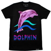 al por mayor delfín rey-Los nuevos reyes pasados de los estilos de hiphop de la alta calidad 2015 ponen en cortocircuito la ropa del DGK del delfín del rosa de la camiseta del salto de la cadera de los hombres lk de la camiseta de la manga