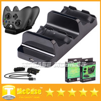 Wholesale New Dual Charging Dock Controllers Charger Rechargeable Batteries Charging Cable Charge Kit For Xbox One With Retail Box