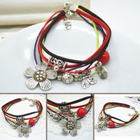Wholesale Fashion handmade leather cord jewelry Ethnic Tibetan bracelet daisies Chinese style bracelet bohemian bracelet X60 SS1045W S1
