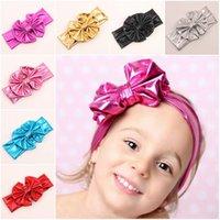 Wholesale 2015 Children Hairband Headband Bowknot Elastic New Pretty Girl Flower Kids Hair Accessories Baby Children Infant Hot Metallic Colors