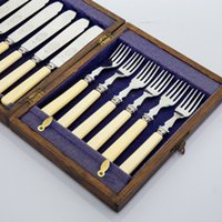 sheffield - Western antique silver cutlery stainless steel cutlery Sheffield combination of six pairs