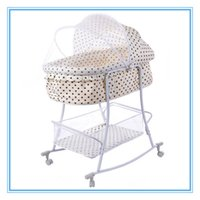 Wholesale Two Use Shaker and Pusher Iron Baby Bed Dot Off white Swing Cradle Bed with Mosquito Net For Newborn Baby Years