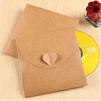 Wholesale mm Vintage Heart Kraft Paper CD Optical disc Paper Bag DVD Bag Green Card bag envelope Filing Products
