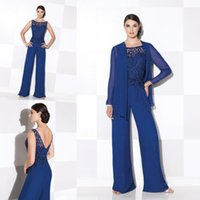 chiffon jacket - royal blue Mother Of The Bride Pant Suits Elegant Lace Free jackets Long sleeve Summer Formal dresses Scoop Neck