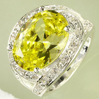 green topaz - 2015 Top AR15 Oval Cut Green Amethyst White Topaz Gemstone Silver Ring Size A0030 In Stock