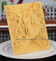 Wholesale Cheap Elegant Wedding Invitations Cards With Bow Personalized Customized Flower Hollow Cut out Wedding Accessories