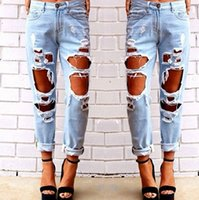 Wholesale five color available summer style high waist big ripped boyfriend jeans for woman women calca feminina beach street fashion