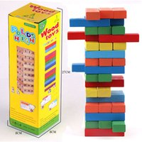 wooden board - Color jange toys Jenga Classic Game Family Board Game Stacking Tumbling Tower jenga folds high children Wooden toys Building block game