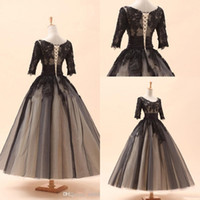 amazing photos - 2016 Amazing In Stock Cocktail Dresses A Line Crew Black Appliques Long Sleeve Tea Length Lace Tulle Prom Party Dress