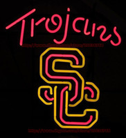 beer lamp - USC Trojans Logo Football Neon Bar Sign Beer Light USA Handcrafted Real Glass Lamp Light Beer bar Sign Logo Sign quot X14 quot