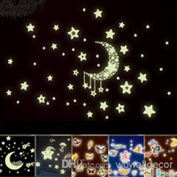 glow in the dark stars - Mix Order Eco friendly PVC Fluorescent Luminous Wall Sticker Glow in the Dark Stars Decorative Wall Decal for Kids Rooms Decoration Wall Art